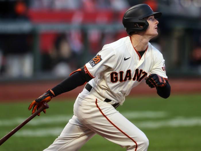 Mike Yastrzemski swings the bat