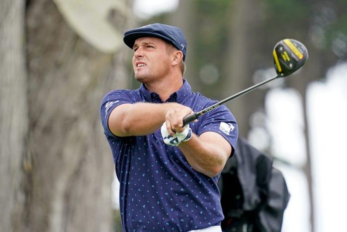Bryson DeChambeau tees off on the 7th during the first round of the 2020 PGA Championship golf tournament at TPC Harding Park.