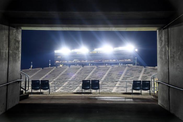 An empty Autzen Stadium in Eugene, Oregon