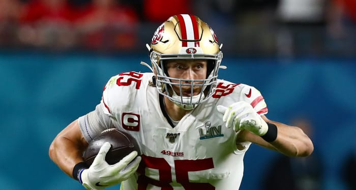San Francisco 49ers tight end George Kittle (85) runs after a reception against the Kansas City Chiefs in Super Bowl LIV at Hard Rock Stadium.