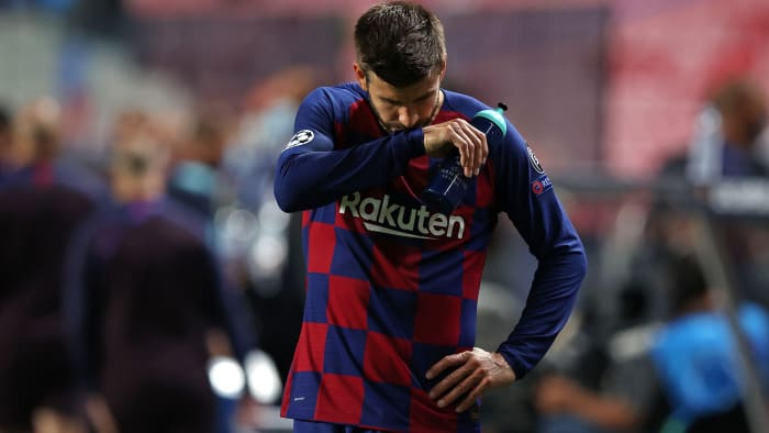 Gerard Pique and Barcelona crash out of Champions League
