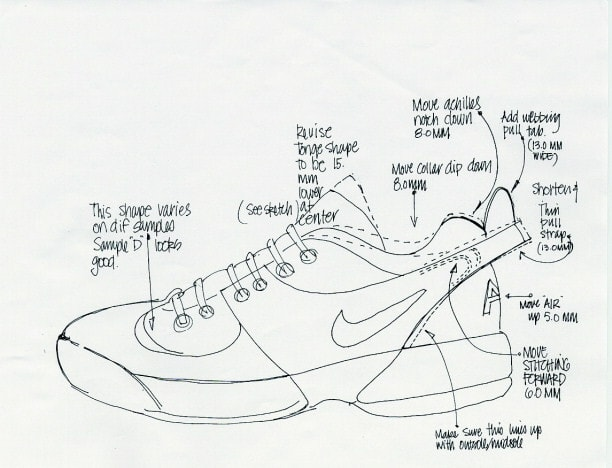 A black and white sketch of the original Air Swoopes