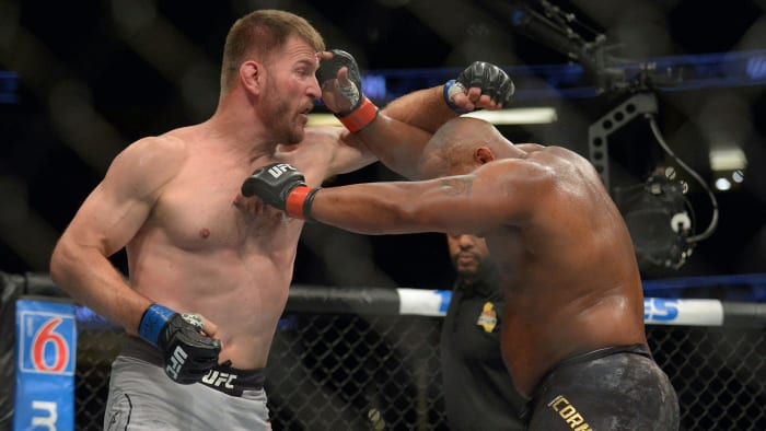 Daniel Cormier lands a hit against Stipe Miocic during UFC 241 at Honda Center.