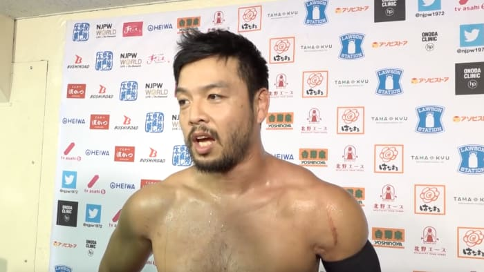 NJPW's Kenta gives an interview after a match