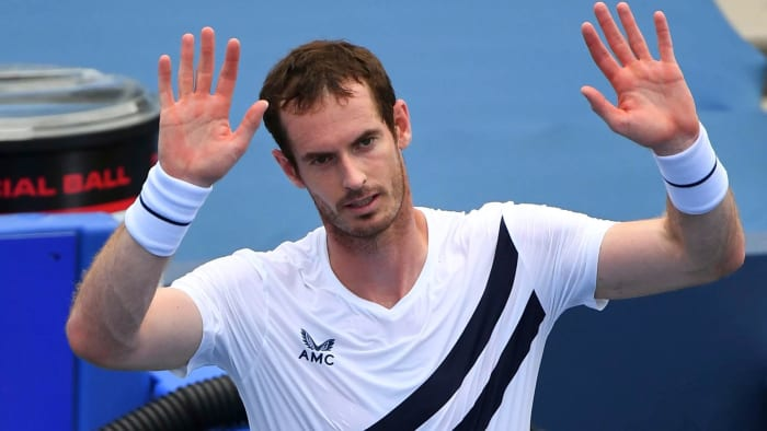 Andy Murray reacts after his match against Frances Tiafoe during the Western & Southern Open at the USTA Billie Jean King National Tennis Center.