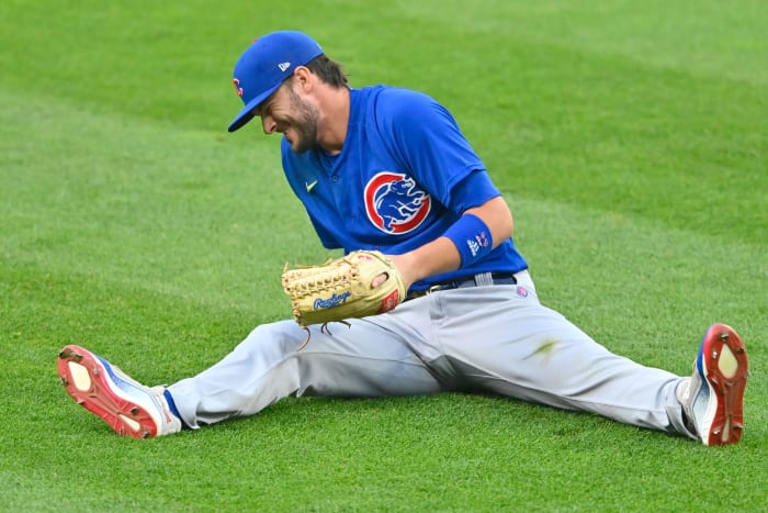 Chicago Cubs left fielder Kris Bryant (17) reacts after diving for a base hit in the fifth inning against the Cleveland Indians at Progressive Field.