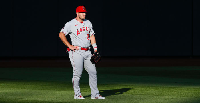 Los Angeles Angels center fielder Mike Trout (27) waits between pitches against the Seattle Mariners during the first inning at T-Mobile Park.