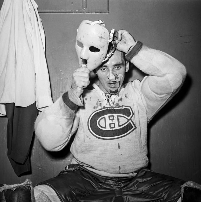 Plante ensanglantée a enfilé un masque en milieu de partie en 1959.