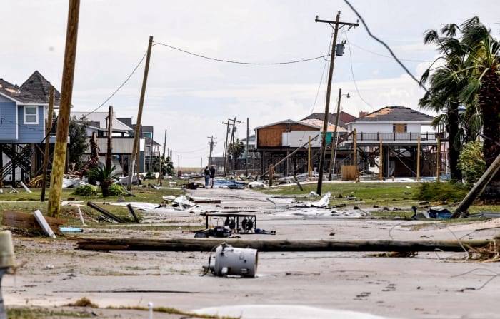 Damage from Hurricane Laura to the streets of Lake Charles