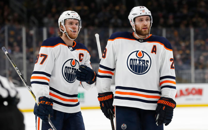 Connor McDavid and Leon Draisaitl of the Edmonton Oilers.