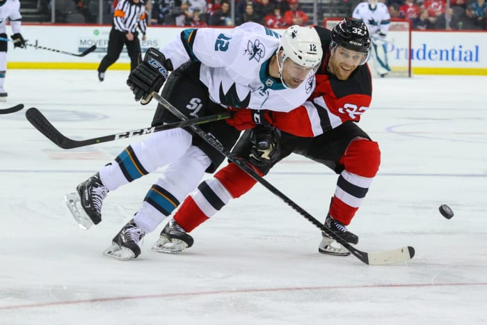 Patrick Marleau (No. 12). Photo by Ed Mulholland-USA TODAY Sports