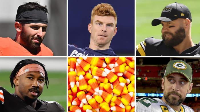 Example of NFL Week 6 clockwise from top left: Baker Mayfield, Andy Dalton, Ben Roethlisberger, Aaron Rodgers, candy corn, Myles Garrett