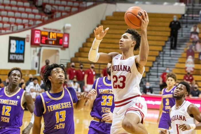 Trayce Jackson-Davis is dominating inside for Indiana. (USA TODAY Sports)