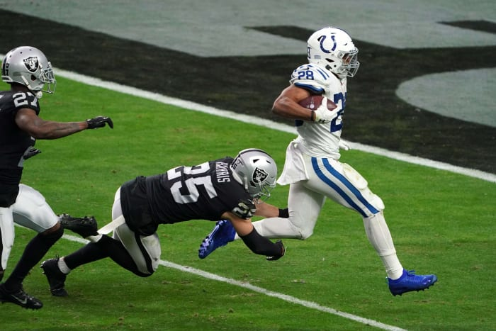 Indianapolis Colts rookie runs back Jonathan Taylor finishes a 62-yard touchdown run in Sunday's win in Las Vegas.