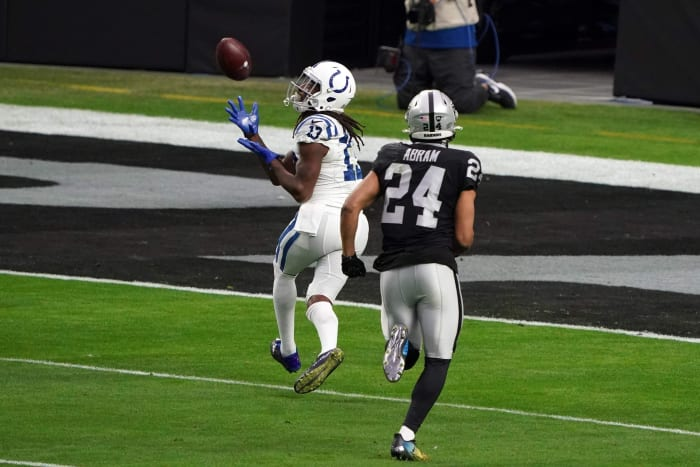 Broad recipient TY Hilton scores a 41-yard touchdown pass at Sunday's Indianapolis Colts win in Las Vegas.