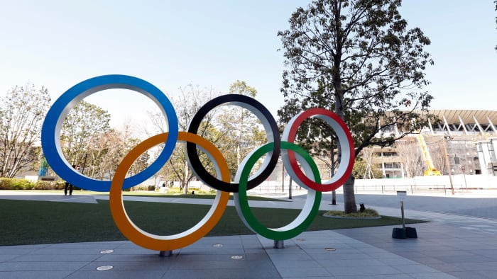 The Olympic rings on display