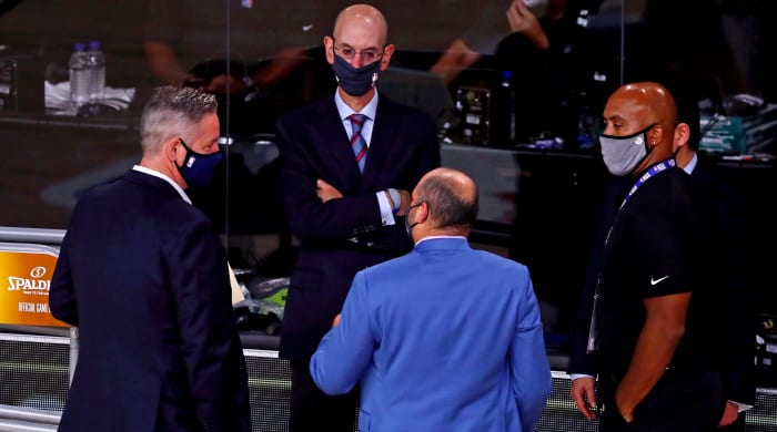 NBA Commissioner Adam Silver speaks prior to Game 5 of the 2020 NBA Finals between the Los Angeles Lakers and Miami Heat at AdventHealth Arena.