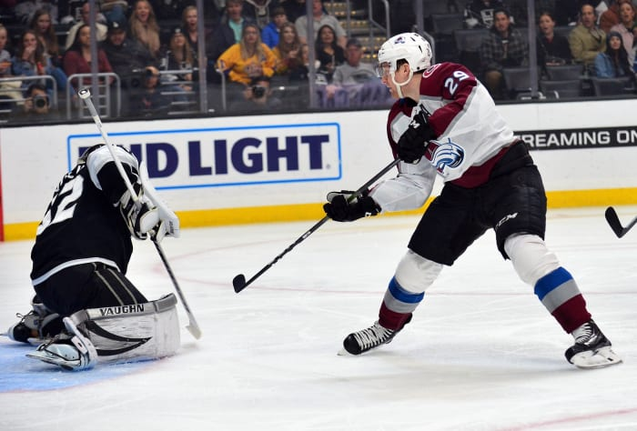Nathan MacKinnon shoots on Jonathan Quick. Photo by Gary A. Vasquez-USA TODAY Sports.
