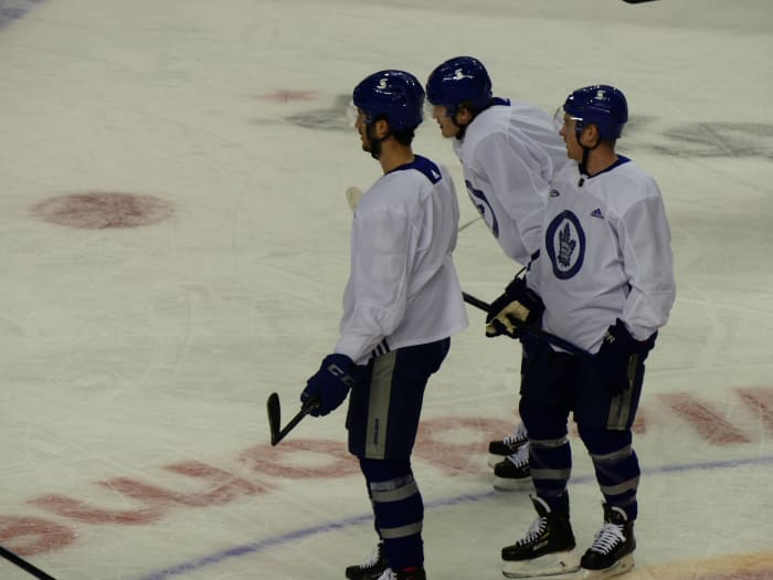Pierre Engvall (left) with Joey Anderson (middle) and Travis Boyd (right)