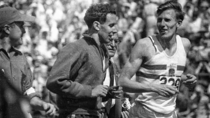 Roger Bannister and John Landy, then the only two humans to have run a mile in less than four minutes.