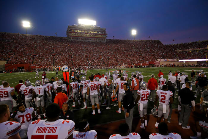 View of the Ohio State Buckeyes as they stand sidelines against the Indiana Hoosiers at Memorial Stadium.