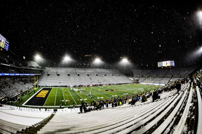 A general view of the largely empty Kinnick Stadium during the fourth quarter between the Iowa Hawkeyes and the Wisconsin Badgers.