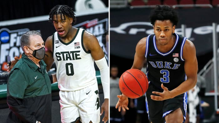 Michigan State's Aaron Henry and Duke's Jeremy Roach