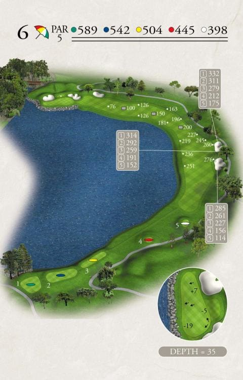 Illustration of the sixth hole at Bay Hill