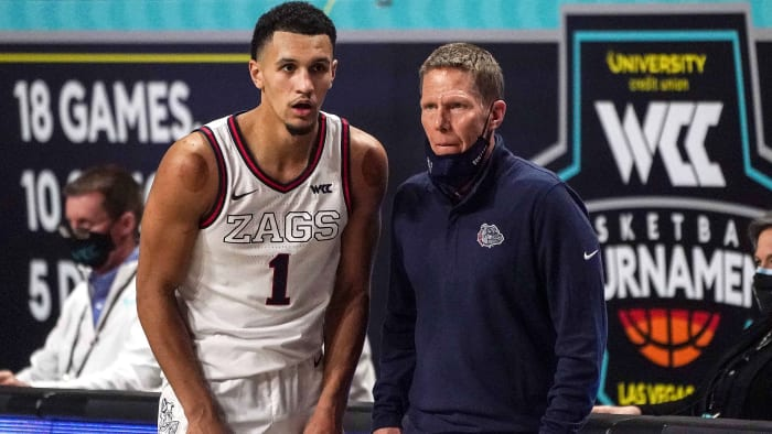Jalen Suggs and Mark Few from Gonzaga
