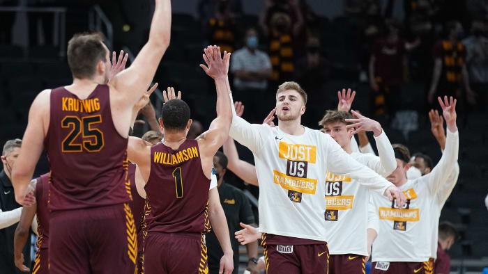 Loyola Chicago celebrates after beating Illinois