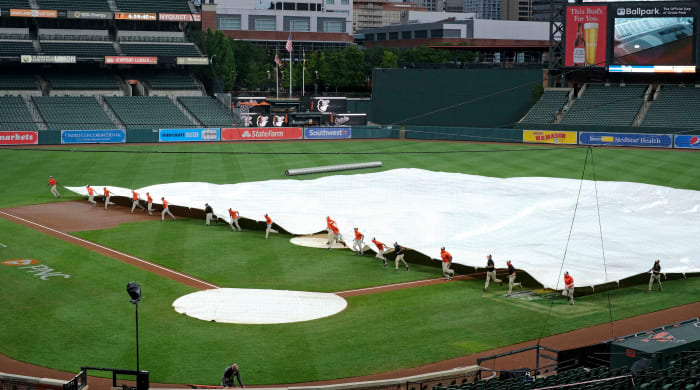 July 31, 2020;  Baltimore, Maryland, United States;  The Tampa Bay Rays' game against the Baltimore Orioles at Oriole Park in Camden Yards is off to a delayed start due to rain.