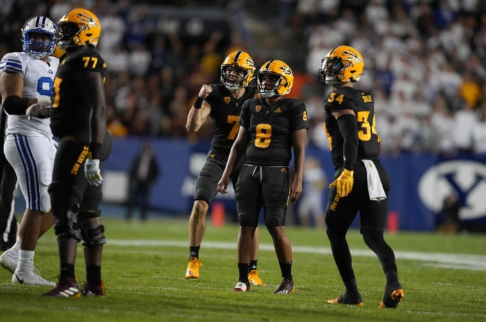 September 18, 2021;  Provo, Utah, United States;  Arizona State Sun Devils quarterback Ethan Long (7) and kicker Cristian Zendejas (8) react after a 40-yard field goal by Zendejas in the second half against the BYU Cougars at LaVell Edwards Stadium.  Mandatory Credit: Kirby Lee-USA TODAY Sports