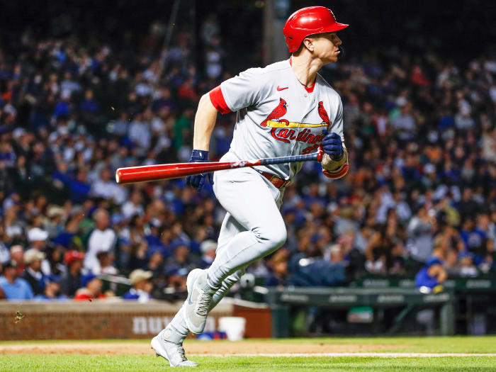 September 24, 2021;  Chicago, Illinois, United States;  St. Louis Cardinals left fielder Tyler O'Neill (27) rounds out the bases after hitting a three-run homer against the Chicago Cubs during the second inning of Game 2 of a doubleheader at Wrigley Field.