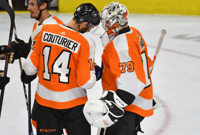 Sean Couturier and Carter Hart