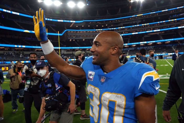 October 4, 2021;  Inglewood, California, United States;  Los Angeles Chargers running back Austin Ekeler (30) reacts after defeating the Las Vegas Raiders at SoFi Stadium.  Mandatory Credit: Kirby Lee-USA TODAY Sports