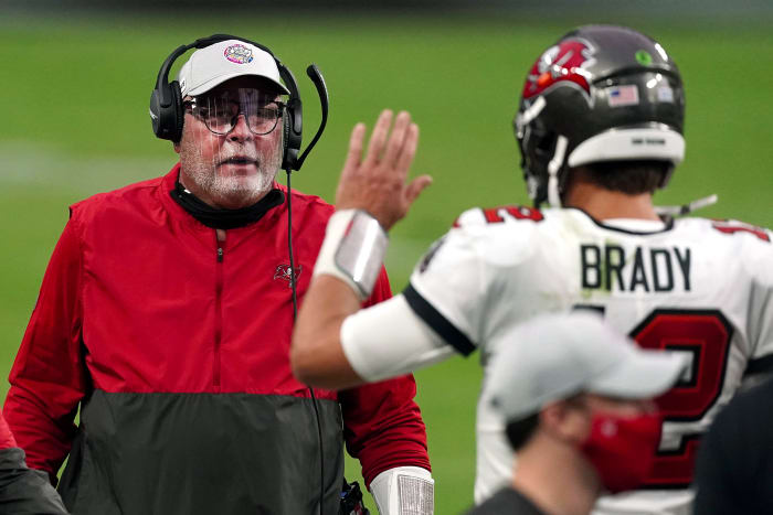 Brady with his new, more emotive coach, Arians.