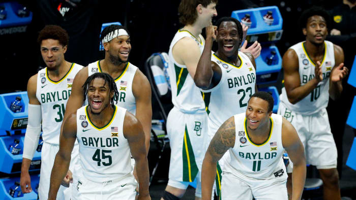 Baylor reacts during a resounding victory over Houston
