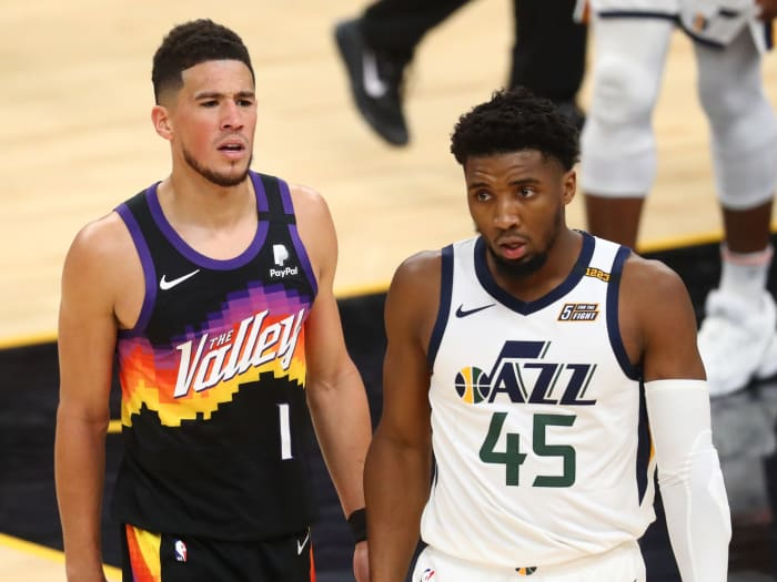 Devin Booker with Donovan Mitchell