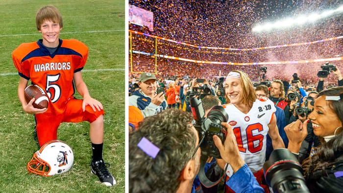 Trevor Lawrence as a youth football player, and after winning the national title game in 2019