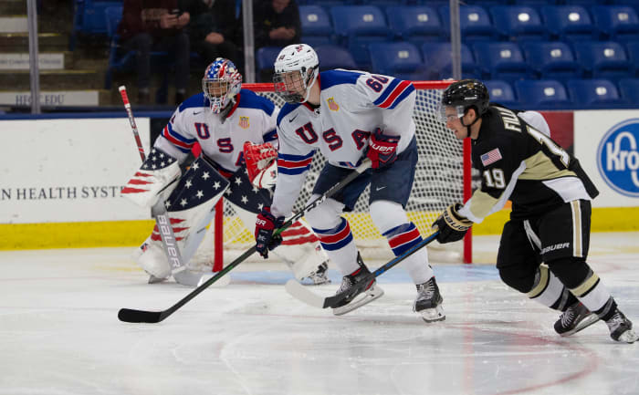 Roman Schmidt (60). Photo by Rena Laverty/USA Hockey's NTDP.