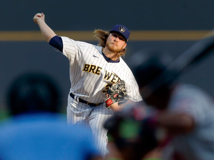April 3, 2021;  Milwaukee, Wisconsin, United States;  Milwaukee Brewers pitcher Corbin Burnes (39) throws a pitch against the Minnesota Twins during the first inning at American Family Field.