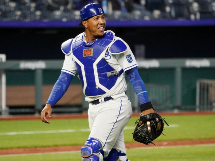 April 15, 2021;  Kansas City, Missouri, United States;  Kansas City Royals wide receiver Salvador Perez returns home after making a play in the ninth inning against the Toronto Blue Jays at Kauffman Stadium.