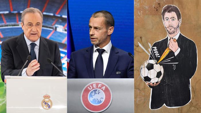 Real Madrid's Florentino Perez, UEFA's Aleksander Ceferin and Juventus's Andrea Agnelli