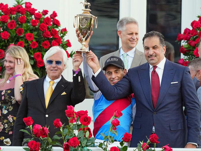 The Medina Spirit team, including trainer Bob Baffert, celebrate winning the 2021 Kentucky Derby.