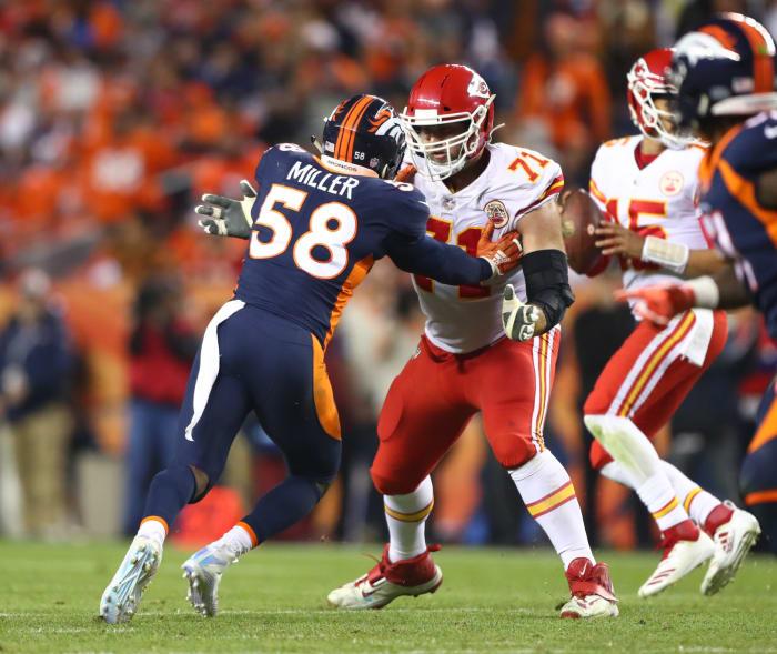 1 October 2018;  Denver, Colorado, United States;  Kansas City Chiefs tackle Mitchell Schwartz (71) vs Denver Broncos quarterback Von Miller (58) at the Broncos Stadium at Mile High.