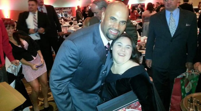 Albert Pujols and Alex Tuchowski at the Pujols Family Foundation's O'Night Divine event in St. Louis in December 2012.