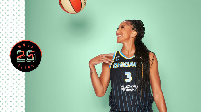 Candace Parker smiling and throwing a basketball on a green background