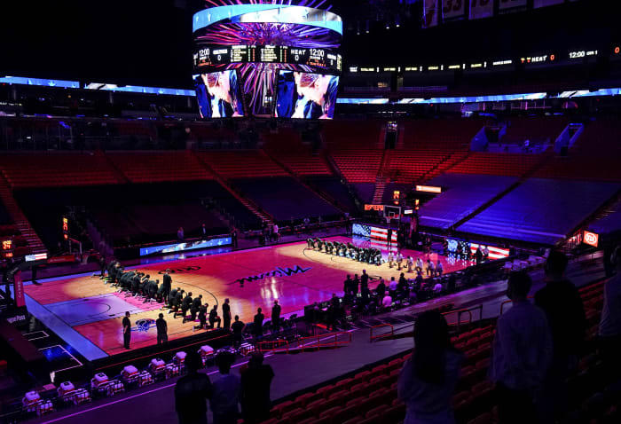 Before their Jan. 6 game in Miami, the Heat and Celtics took a knee after putting out a statement addressing both the decision not to file charges in the police shooting of Jacob Blake and the Captiol riot.