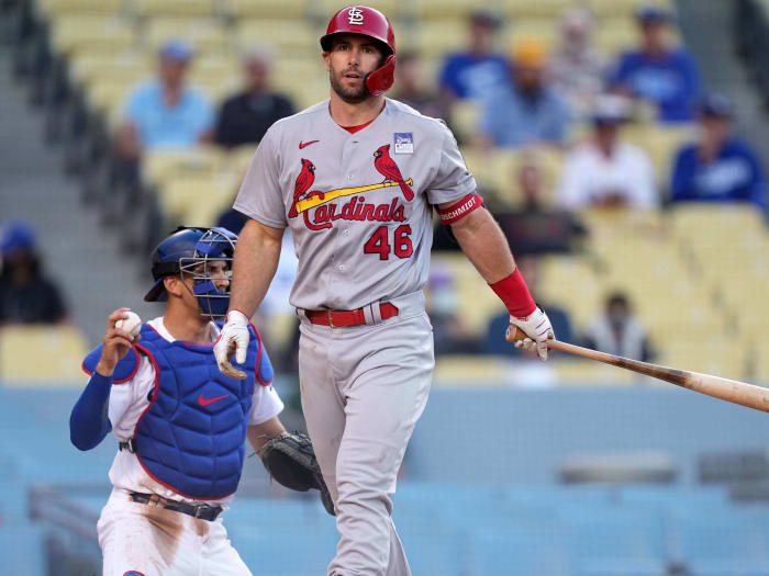 St. Louis Cardinals first baseman Paul Goldschmidt (46) reacts after striking out during the third inning as Los Angeles Dodgers wide receiver Austin Barnes (15) looks on at Dodger Stadium.