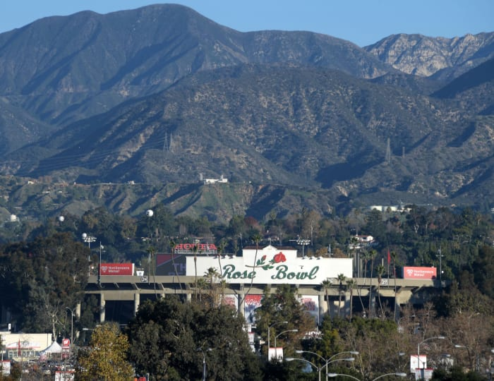 General overall view of Rose Bowl Stadium and the San Gabriel Mountains before the 106th Rose Bowl between the Oregon Ducks and the Wisconsin Badgers.